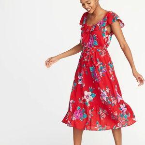Ruffled slub weave the-belt red floral Midi M